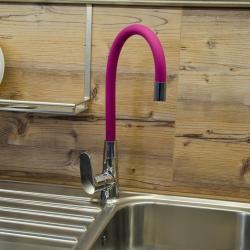 SLEZAK-RAV - Vodovodní baterie dřezová s flexibilním ramínkem AMUR, Barva: chrom/růžová, Rozměr: 1/2'' (AM719.5/10R), fotografie 4/2