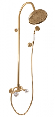 SLEZAK-RAV - Vodovodní baterie sprchová BRILLIANCE s hlavovou a ruční sprchou , Barva: stará mosaz, Rozměr: 100 mm (BRILLIANCE181.0/3SM)