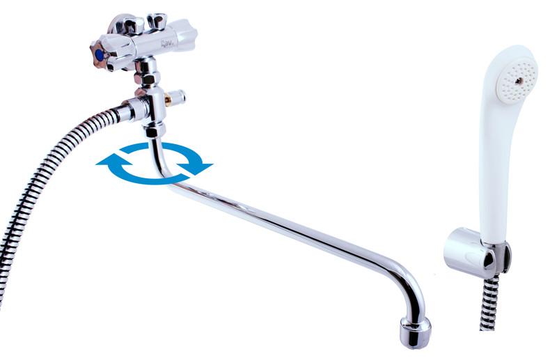 SLEZAK-RAV Vodovodní baterie pro vanu a umyvadlo pro průtokové ohřivače, Barva: chrom, Rozměr: připojení na trubičky EM056.1/1P
