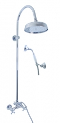 SLEZAK-RAV - Vodovodní baterie sprchová MORAVA RETRO s hlavovou a ruční sprchou, Barva: chrom, Rozměr: 100 mm (MK181.0/3)