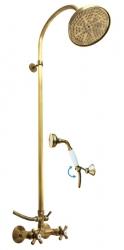 SLEZAK-RAV - Vodovodní baterie sprchová MORAVA RETRO STARÁ MOSAZ s hlavovou a ruční sprchou, Barva: stará mosaz, Rozměr: 100 mm (MK181.0/3SM)