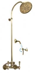 SLEZAK-RAV - Vodovodní baterie sprchová MORAVA RETRO STARÁ MOSAZ s hlavovou a ruční sprchou , Barva: stará mosaz, Rozměr: 100 mm (MK481.0/3SM)