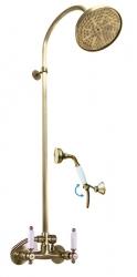 SLEZAK-RAV - Vodovodní baterie sprchová MORAVA RETRO STARÁ MOSAZ s hlavovou a ruční sprchou , Barva: stará mosaz, Rozměr: 150 mm (MK581.5/3SM)