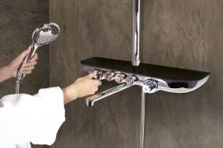 SLEZAK-RAV - Vodovodní baterie vanová/sprchová s pevnou tyčí, hlavovou a ruční sprchou, police SKLO LACOBEL černá metalíza MURRAY NEW, Barva: sklo/černá metalíza/pevná tyč (MU253.5/4SC)