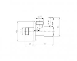 SLEZAK-RAV - Rohový ventil s keramickým vrškem - stará mosaz, Barva: stará mosaz, Rozměr: 1/2''x1/2'' (ROH001SM), fotografie 2/1
