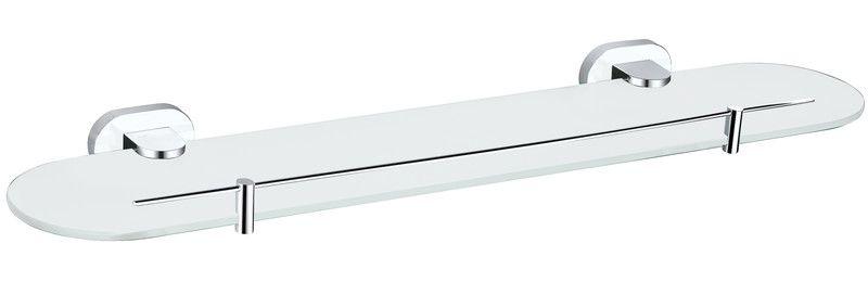 SLEZAK-RAV Polička skleněná 500 mm, Barva: chrom/bílá YUA0900/50CB