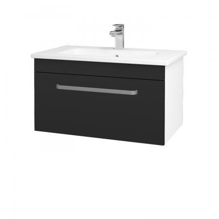 Dřevojas - Koupelnová skříň ASTON SZZ 80 - N01 Bílá lesk / Úchytka T01 / L03 Antracit vysoký lesk (137519A)