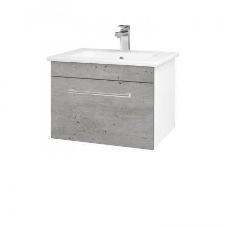 Dřevojas - Koupelnová skříň ASTON SZZ 60 - N01 Bílá lesk / Úchytka T03 / D01 Beton (130886C)