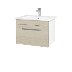 Dřevojas - Koupelnová skříň ASTON SZZ 60 - N01 Bílá lesk / Úchytka T01 / D04 Dub (130916A)