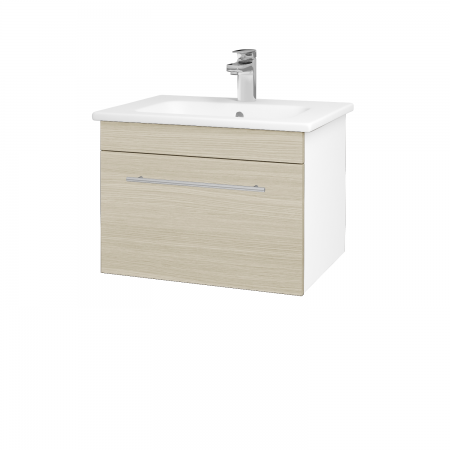 Dřevojas - Koupelnová skříň ASTON SZZ 60 - N01 Bílá lesk / Úchytka T02 / D04 Dub (130916B)