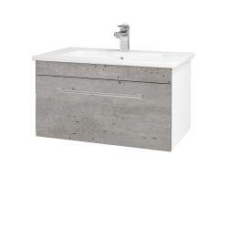 Dřevojas - Koupelnová skříň ASTON SZZ 80 - N01 Bílá lesk / Úchytka T03 / D01 Beton (130954C)