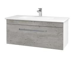 Dřevojas - Koupelnová skříň ASTON SZZ 100 - N01 Bílá lesk / Úchytka T01 / D01 Beton (131029A)
