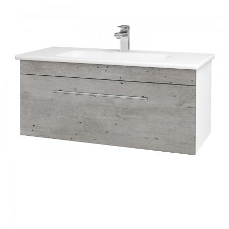 Dřevojas - Koupelnová skříň ASTON SZZ 100 - N01 Bílá lesk / Úchytka T02 / D01 Beton (131029B)