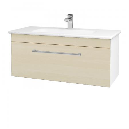 Dřevojas - Koupelnová skříň ASTON SZZ 100 - N01 Bílá lesk / Úchytka T03 / D02 Bříza (131036C)