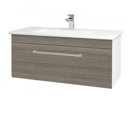 Dřevojas - Koupelnová skříň ASTON SZZ 100 - N01 Bílá lesk / Úchytka T03 / D03 Cafe (131043C)