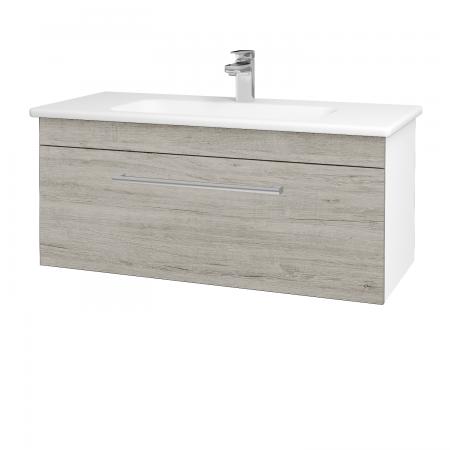 Dřevojas - Koupelnová skříň ASTON SZZ 100 - N01 Bílá lesk / Úchytka T03 / D05 Oregon (131067C)