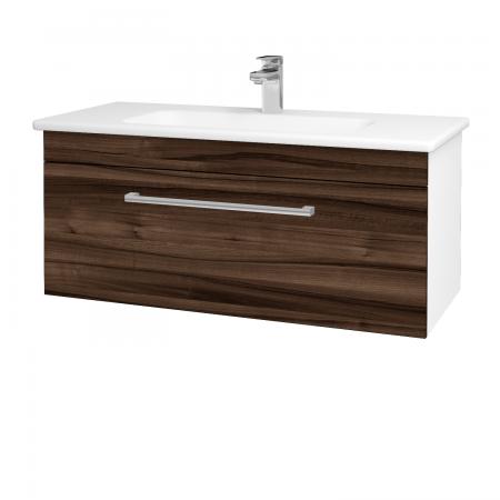 Dřevojas - Koupelnová skříň ASTON SZZ 100 - N01 Bílá lesk / Úchytka T03 / D06 Ořech (131074C)
