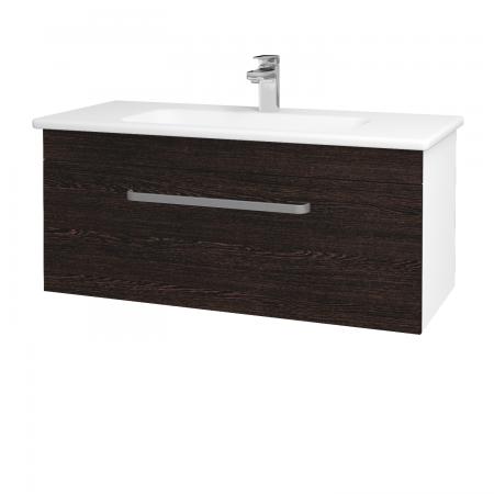 Dřevojas - Koupelnová skříň ASTON SZZ 100 - N01 Bílá lesk / Úchytka T01 / D08 Wenge (131081A)