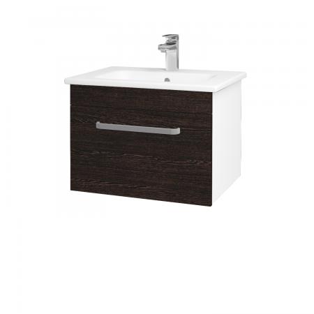 Dřevojas - Koupelnová skříň ASTON SZZ 60 - N01 Bílá lesk / Úchytka T01 / D08 Wenge (148980A)