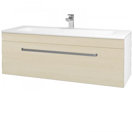 Dřevojas - Koupelnová skříň ASTON SZZ 120 - N01 Bílá lesk / Úchytka T01 / D02 Bříza (131104A)