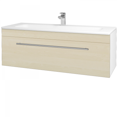Dřevojas - Koupelnová skříň ASTON SZZ 120 - N01 Bílá lesk / Úchytka T02 / D02 Bříza (131104B)