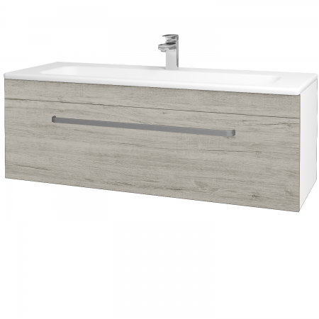 Dřevojas - Koupelnová skříň ASTON SZZ 120 - N01 Bílá lesk / Úchytka T01 / D05 Oregon (131135A)