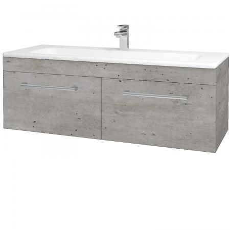 Dřevojas - Koupelnová skříň ASTON SZZ2 120 - D01 Beton / Úchytka T03 / D01 Beton (131517C)