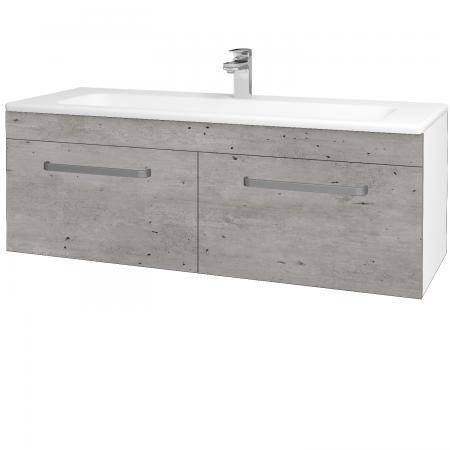 Dřevojas - Koupelnová skříň ASTON SZZ2 120 - N01 Bílá lesk / Úchytka T01 / D01 Beton (131166A)