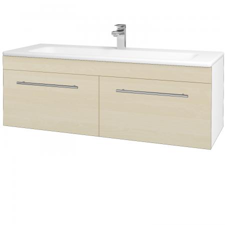 Dřevojas - Koupelnová skříň ASTON SZZ2 120 - N01 Bílá lesk / Úchytka T02 / D02 Bříza (131173B)