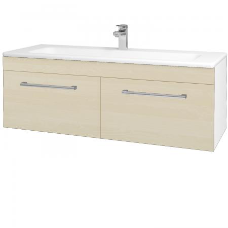 Dřevojas - Koupelnová skříň ASTON SZZ2 120 - N01 Bílá lesk / Úchytka T03 / D02 Bříza (131173C)