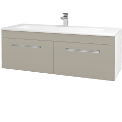 Dřevojas - Koupelnová skříň ASTON SZZ2 120 - N01 Bílá lesk / Úchytka T03 / L04 Béžová vysoký lesk (146894C)
