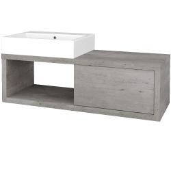 Dřevojas - Koupelnová skříň STORM SZZO 120 (umyvadlo Kube) - D01 Beton / D01 Beton / Levé (170998)