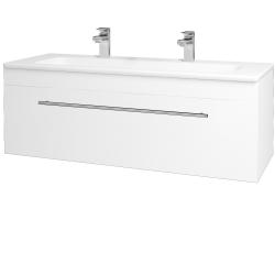 Dřevojas - Koupelnová skříň ASTON SZZ 120 - N01 Bílá lesk / Úchytka T02 / L01 Bílá vysoký lesk (131593BU)