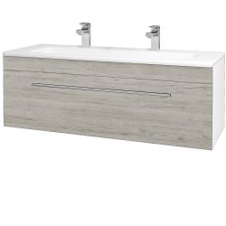 Dřevojas - Koupelnová skříň ASTON SZZ 120 - N01 Bílá lesk / Úchytka T02 / D05 Oregon (131135BU)