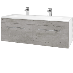 Dřevojas - Koupelnová skříň ASTON SZZ2 120 - N01 Bílá lesk / Úchytka T02 / D01 Beton (131166BU)