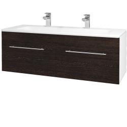 Dřevojas - Koupelnová skříň ASTON SZZ2 120 - N01 Bílá lesk / Úchytka T02 / D08 Wenge (131227BU)