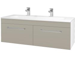 Dřevojas - Koupelnová skříň ASTON SZZ2 120 - N01 Bílá lesk / Úchytka T03 / L04 Béžová vysoký lesk (146894CU)