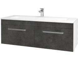Dřevojas - Koupelnová skříň ASTON SZZ2 120 - N01 Bílá lesk / Úchytka T01 / D16 Beton tmavý (200268A)