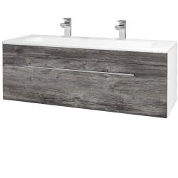 Dřevojas - Koupelnová skříň ASTON SZZ 120 - N01 Bílá lesk / Úchytka T02 / D10 Borovice Jackson (109448BU)
