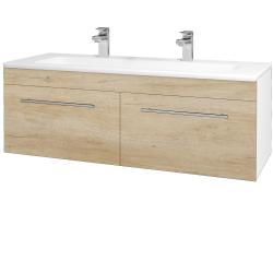Dřevojas - Koupelnová skříň ASTON SZZ2 120 - N01 Bílá lesk / Úchytka T02 / D15 Nebraska (173999BU)