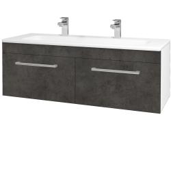 Dřevojas - Koupelnová skříň ASTON SZZ2 120 - N01 Bílá lesk / Úchytka T03 / D16 Beton tmavý (200268CU)