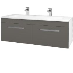 Dřevojas - Koupelnová skříň ASTON SZZ2 120 - N01 Bílá lesk / Úchytka T01 / N06 Lava (200312AU)