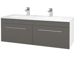 Dřevojas - Koupelnová skříň ASTON SZZ2 120 - N01 Bílá lesk / Úchytka T02 / N06 Lava (200312BU)