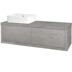 Dřevojas - Koupelnová skříň STORM SZZ2 120 (umyvadlo Joy 3) - D01 Beton / D01 Beton / Pravé (218706P)
