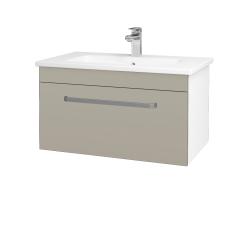 Dřevojas - Koupelnová skříň ASTON SZZ 80 - N01 Bílá lesk / Úchytka T01 / M05 Béžová mat (199364A)