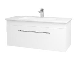 Dřevojas - Koupelnová skříň ASTON SZZ 100 - N01 Bílá lesk / Úchytka T02 / M01 Bílá mat (199968B)