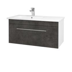 Dřevojas - Koupelnová skříň ASTON SZZ 90 - N01 Bílá lesk / Úchytka T02 / D16 Beton tmavý (199746B)