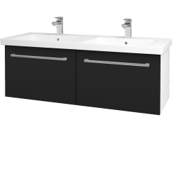 Dřevojas - Koupelnová skříň BIG INN SZZ2 125 - N01 Bílá lesk / Úchytka T03 / N08 Cosmo (201654C)