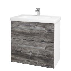 Dřevojas - Koupelnová skříň BIG INN SZZ2 80 - N01 Bílá lesk / Úchytka T01 / D10 Borovice Jackson (121921A)