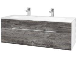 Dřevojas - Koupelnová skříň ASTON SZZ 120 - N01 Bílá lesk / Úchytka T04 / D10 Borovice Jackson (109448EU)